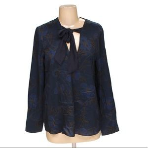 MNG suit pussy bow navy blue blouse size 4